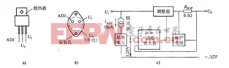 三端可调电压稳压器的外形及内部原理