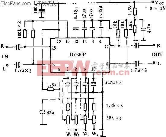 D7630P立体声音调多功能控制电路的应用  www.elecfans.com