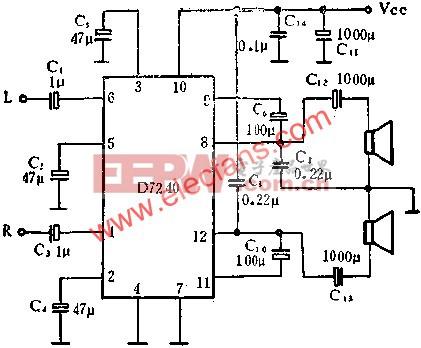 D7240音频功率放大电路作立体声功率放大的应用  www.elecfans.com