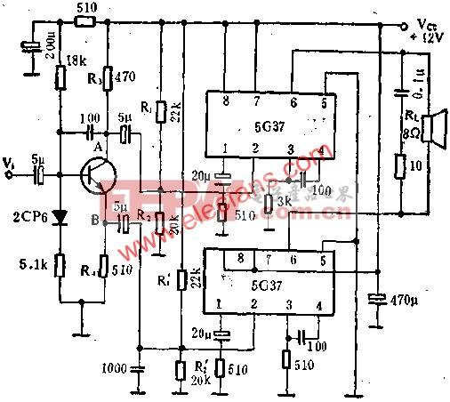 音频功率放大电路5G37接成BTL放大电路介绍