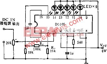 D1405集成电路作直流电平指示器的应用电路图  www.elecfans.com