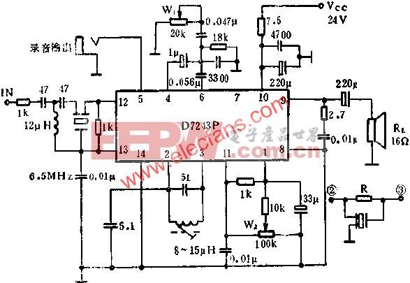 D7243P伴音电路的应用电路图  www.elecfans.com