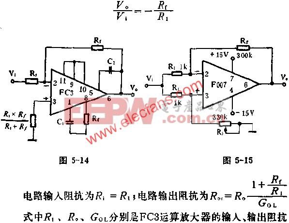 由增益运放FC3组成倒相比例放大器电路