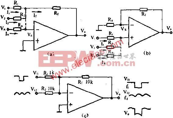 运算放大器组成加法器电路图  www.elecfans.com