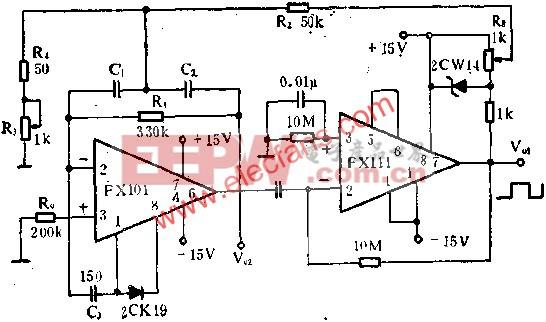 正弦波、矩形波发生器电路图  www.elecfans.com