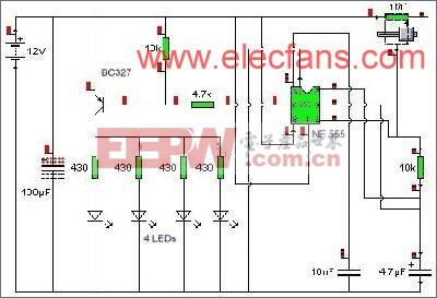LED频闪灯电路 www.elecfans.com