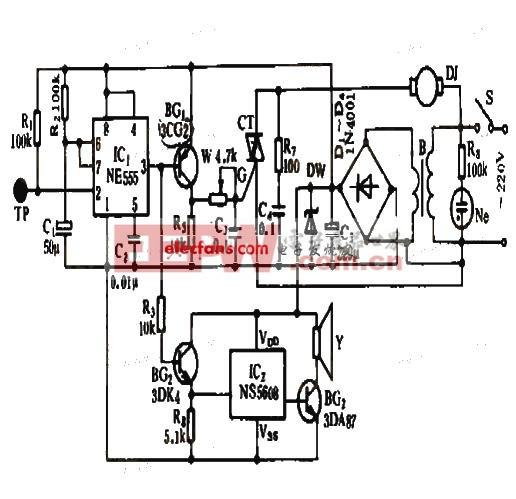 电风扇指触保护报警电路设计