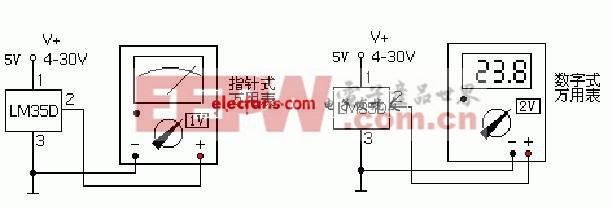 一个元件制作的数显温度计电路设计图片