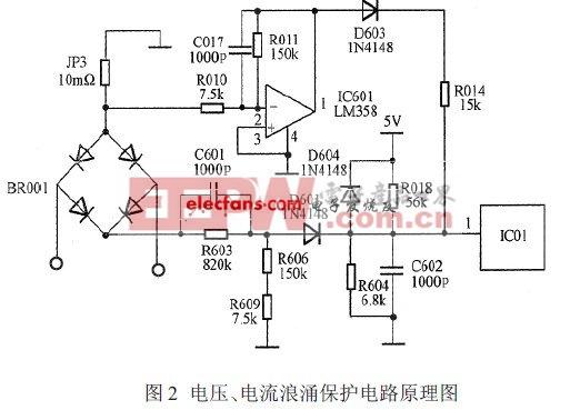 电压、电流浪涌保护电路原理图