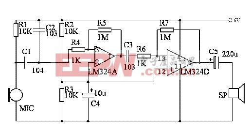 用四运放LM324制作高灵敏度声音探听器