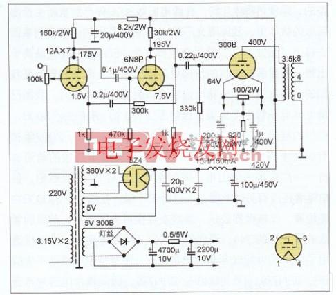 300B单端A类合并式功放电路图 www.elecfans.com