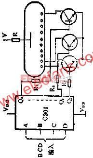 用C301驱动辉光数码管显示器的线路图  www.elecfans.com