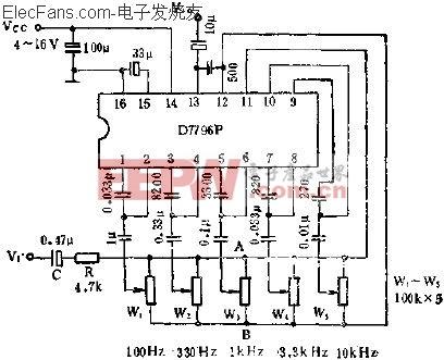 D7796P装置五频段图示均衡电路应用  www.elecfans.com