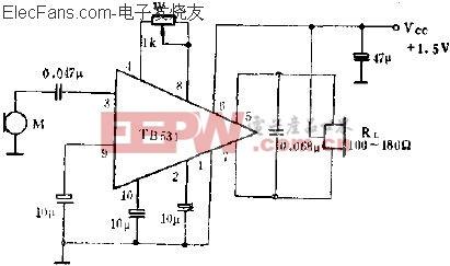 TB531单端输入,双端输出的应用电路  www.elecfans.com