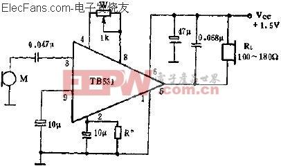 TB531单端输入,单端输出的应用电路  www.elecfans.com