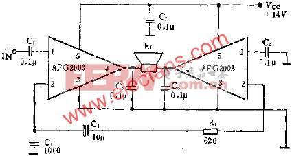 8FG2003拼成BTL放大电路的应用  www.elecfans.com