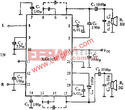 XG4505双声道音频功率放大电路的应用  www.elecfans.com