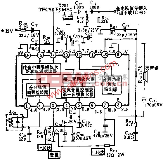 BJ5250是伴音通道采用的集成电路,它包含了第二伴音中频放大,限幅,鉴频,低频放大和功率放大等伴音电路的全部功能.它提供的最大音频输出功率为2.5W.应用实例如图所示.