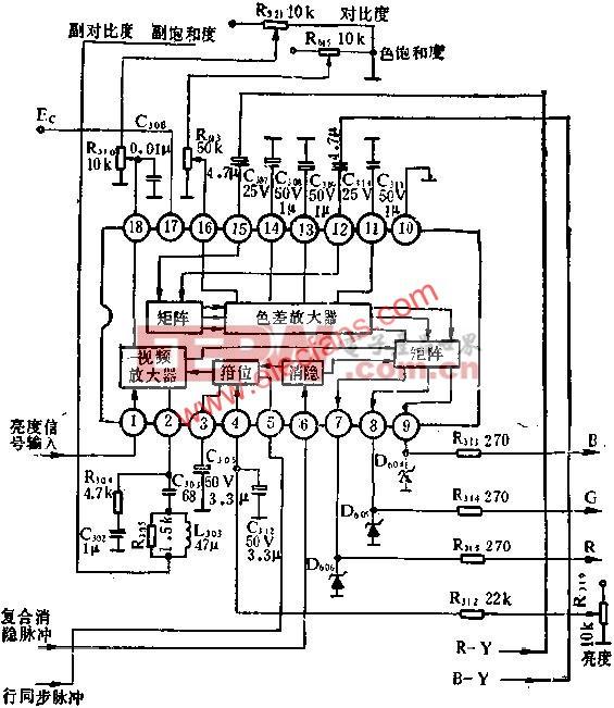 BJ5612方框图和外围电路图  www.elecfans.com