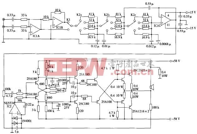 超重低音音箱用的主动伺服式功率放大器电路图