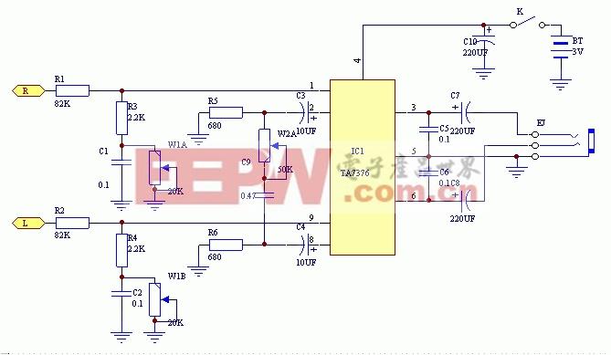 本机电路大致可分为下面三部分: 1.由电阻电容组成的低频增强电路。 2.利用功率放大器IC的反馈输入,组成立体声反相合成电路。 3.利用功率放大器IC,组成头戴耳机的驱动电路。 从输入端IC之间的电阻电容起到增强低频特性的作用,因为加有电位器,低频部分的增强量可在0--10倍之间连续可调。 立体声反相合成电路IC 2脚和8脚的直流耦合电容之后,由0.