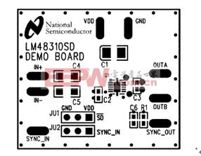 图4. LM48310示范板的丝网印刷图。