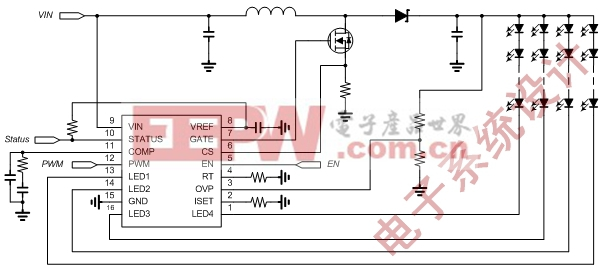 图二: LED Backlight拓扑架构:Boost Converter +Internal MOSFET Current Balance