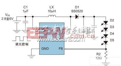 Step-UP DC/DC 开关电源实现LED驱动的典型应用线路