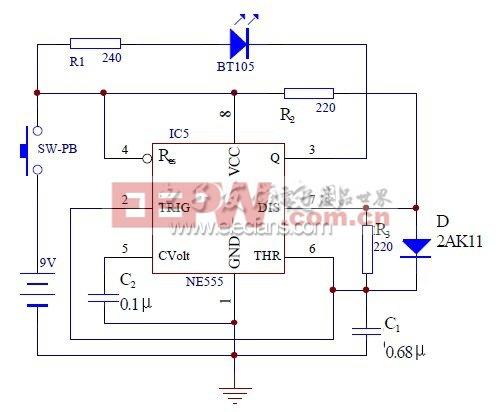 图2 红外线发射机电路图