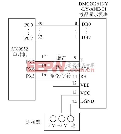 图4 液晶显示与控制电路