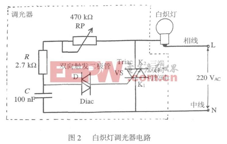图2 白炽灯调光器电路