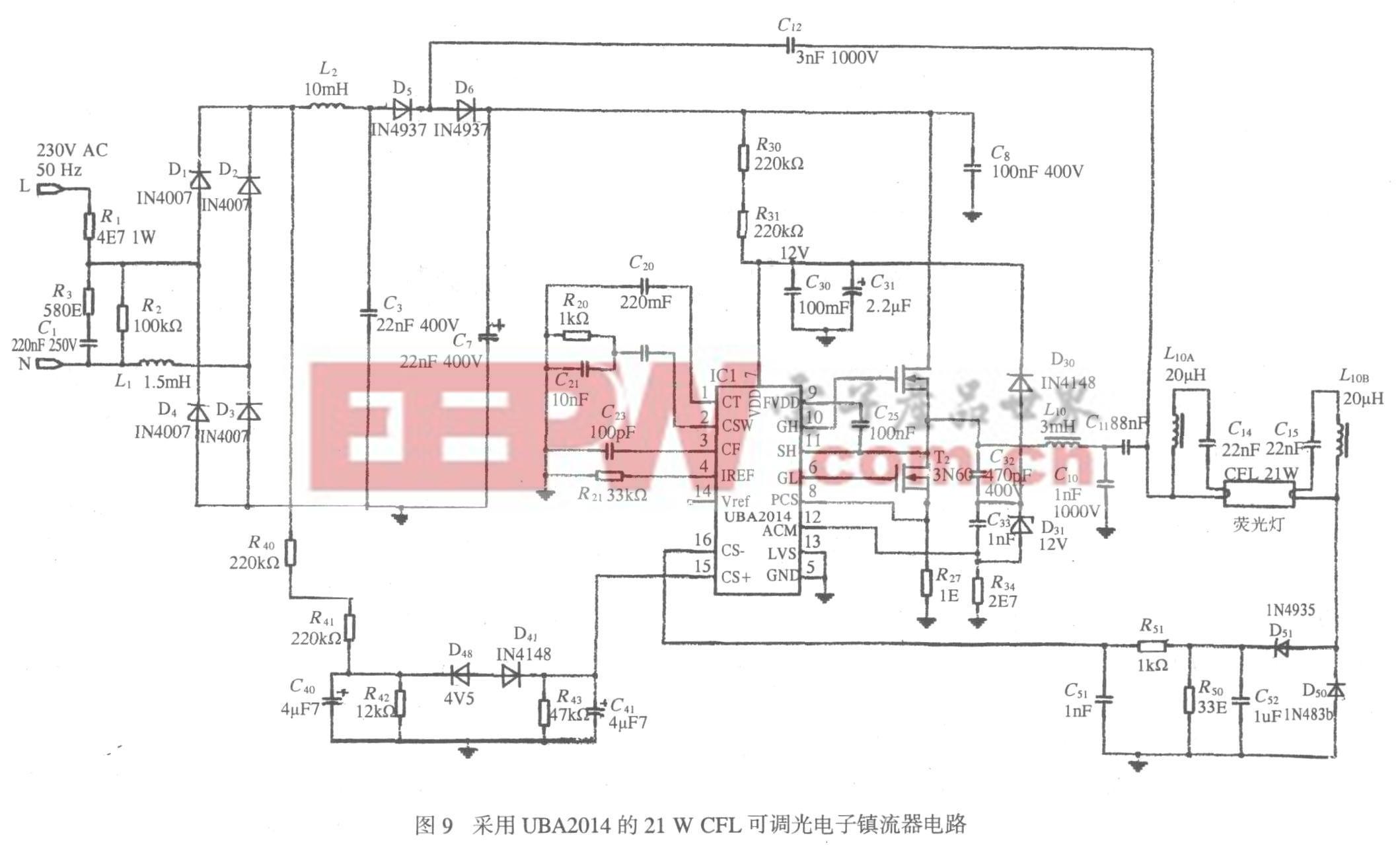采用UBA2014的21W CFL可调光电子镇流器电路
