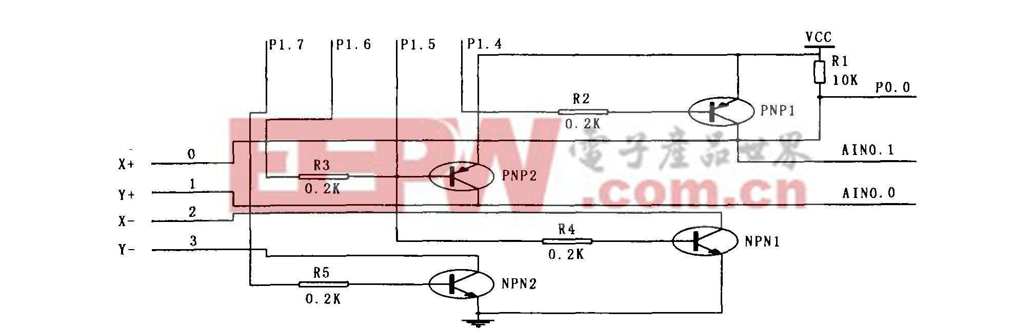 图2 触摸屏硬件接口电路