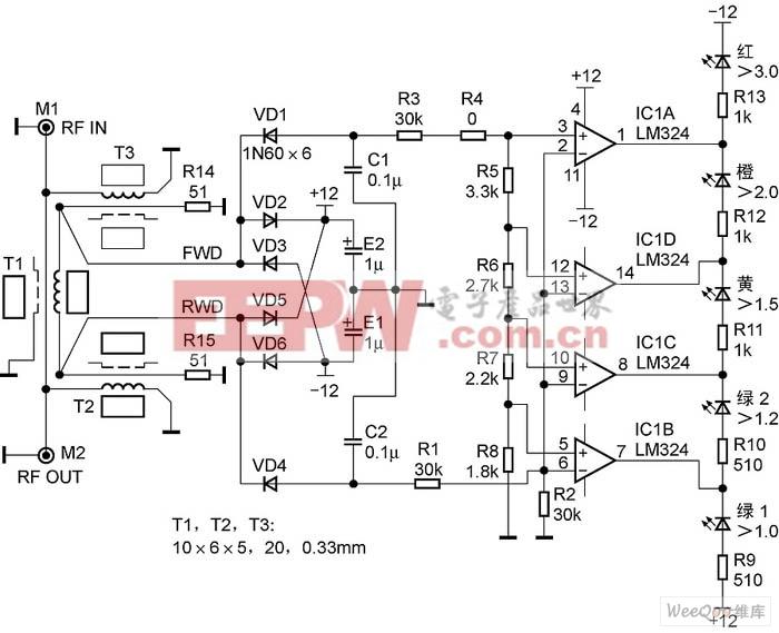 LED驻波指示器电路原理图