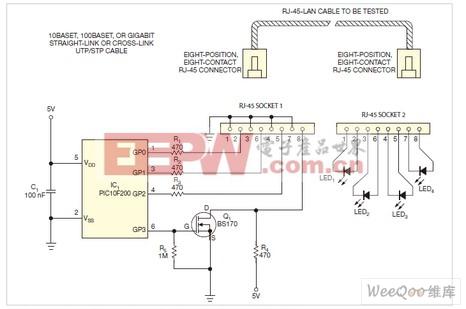 可以用此电路测试直通式或交叉式10BaseT100BaseT或千兆位UTP和STP电缆