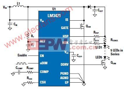 利用12V供电来驱动5至8个串联的3W LED灯的电路