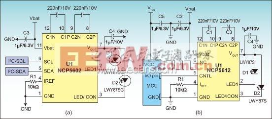 2颗LED式充电泵驱动器应用