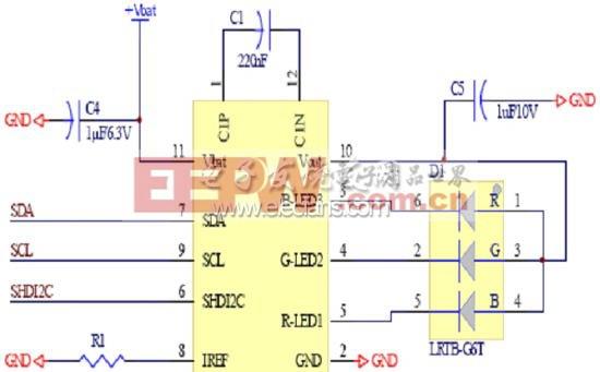 具备I2C控制介面的典型RGB LED驱动晶片应用