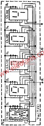 CL102进制计数显示器组成的五位数码显示器线图  www.elecfans.com