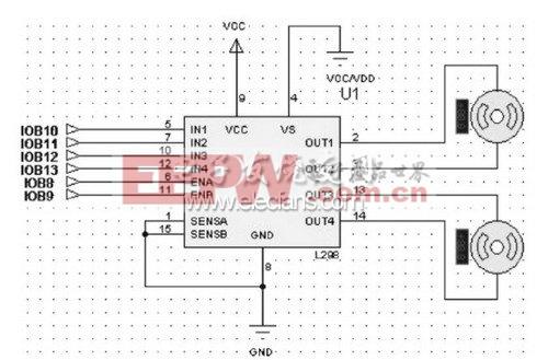 图4 直流电机驱动电路-基于凌阳16位单片机的智能车设计图片