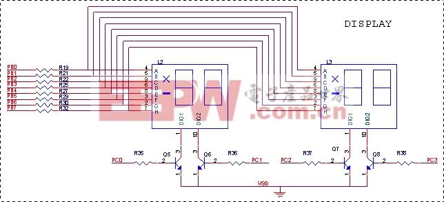 图4-5 显示电路 4.5 控制驱动电路 压缩机的工作原理就是由I/O口输出信号,通过Q1——Q4驱动电路去控制继电器,再由继电器控制压缩机的开停。压缩机的开停由相关室的温度决定,每次开机之前必须检测延时保护条件是否满足,才能作出开机决策,其控制电路如图4-6所示。
