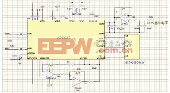心电信号前置放大电路 电极获取的心电信号是十分微弱的体表电信号且在心电信号检测的过程中常伴有强干扰,因此必须经特定处理后才能用于临床诊断。本设计采用TI公司的精密仪表放大器INA326,设计了八通道心电信号采集电路,同时提取I、II及V1~V6八导联心电信号,其它四导联心电信号则在经ADC变换后在数字处理部分根据需要利用I导和II导组合实现。心电信号前置放大电路如图2所示。前级共模信号由被测者的左、右手以及左腿获取,该电路在前级增加了一级共模信号驱动,用来降低共模信号的输出阻抗和提高共模信号驱动能力,确保