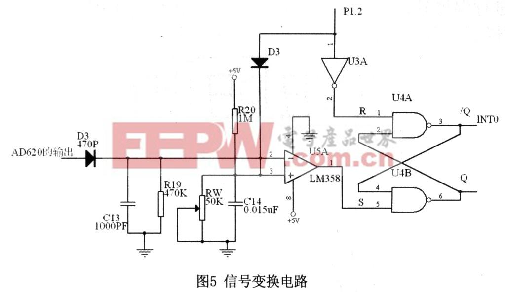 传播过程中受到的干扰信号的影响。该电路为二阶压控电压源带通滤波电路,图中RW,C10组成低通滤波网络,C9和R12组成高通滤波网络,两者串联组成了带通滤波电路。集成运放和电阻R9,RlO一起组成同相比例放大器,为了使电路能够稳定工作,必须保证同相比例放大器的增益AV3,带通滤波器的中心频率0=40kHz, 电路参数可通过AV=1+R9/R10和0=1/R12C2(1/RW+1/R13)确定。经过带通滤波后的信号经专用仪表放大器AD620进行放大,然后送到信号变换电路,信号变换电路主要将接收到的包络信号变