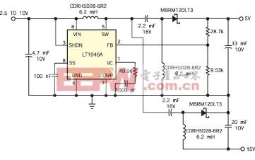 一个简单电路就能在无需变压器的情况下由单个正输入电压产生 +/-5V 输出电压
