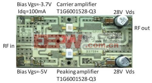 图4. 30 毫米 x 70 毫米的Doherty 放大器电路板