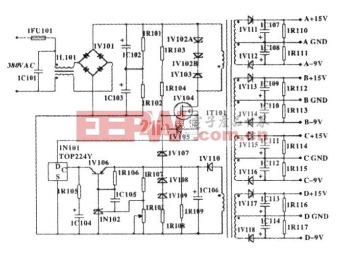 图1  380 V AC 输入、多路输出辅助开关电源电原理图