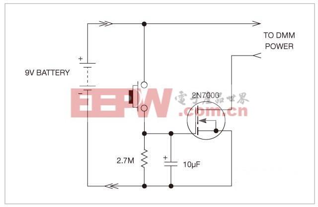 由于只需要少量元件,这个自动断电电路很容易制作并安装在一块DMM的有限空间内