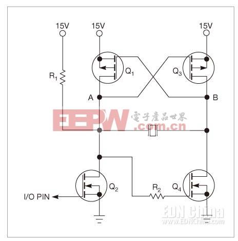一只微控制器I/O引脚驱动这个电路,在压电蜂鸣器两端产生一个交流电压