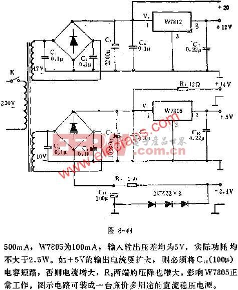 W7805、W7812集成稳压器组成的多用途稳压电流应用线路图  www.elecfans.com