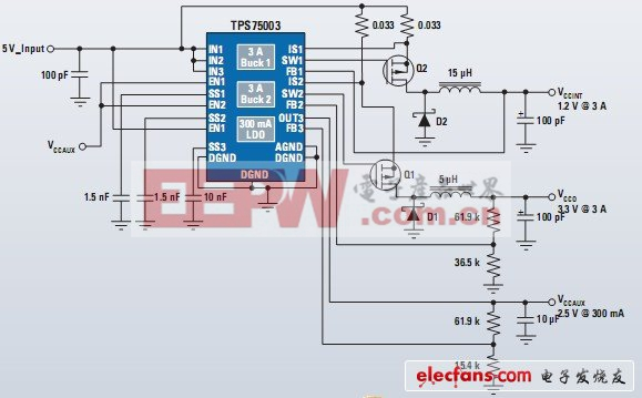 TPS75003芯片应用电路图